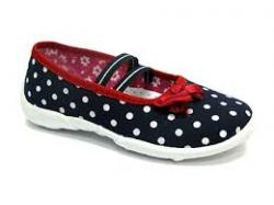 Textilné dievčenské papuče RENBUT 414 modro červená mašľa