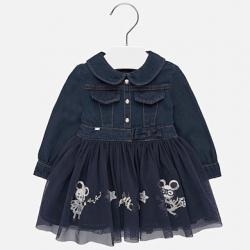 Rifľové šaty s tylom MAYORAL 2925-007 Navy
