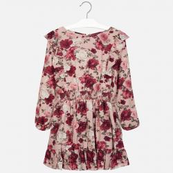 MAYORAL kvietkované šaty s dlhým rukávom 7933-079 Ruby