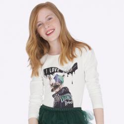 MAYORAL dievčenské tričko so psíkom 7014-010 Natural