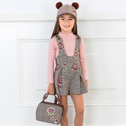 MAYORAL kockovaná dievčenská kabelka 10719-080 Brown