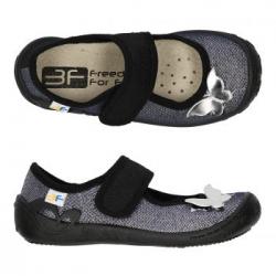 Dievčenské papuče baleríny s koženou stielkou 3F ATENA silver