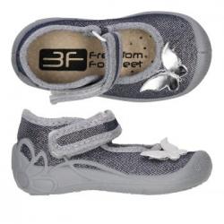 Dievčenské papuče baleríny s koženou stielkou 3F motýľ silver