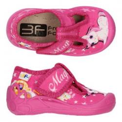 Dievčenské papuče sandále s koženou stielkou 3F TYGRYSEK MAGIC