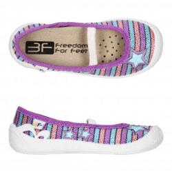 Dievčenské papuče s koženou stielkou 3F PRIMA lila