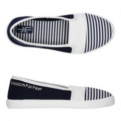 Dievčenské papuče s koženou stielkou 3F GABI pásik
