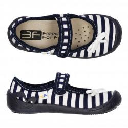 Dievčenské papuče baleríny s koženou stielkou 3F FORTUNA pásik