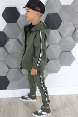 Bavlnená chlapčenská mikina s pásikom MM 939 army