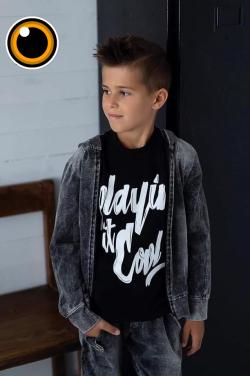Bavlnená chlapčenská mikina imitácia džíns MM 902 jeans black