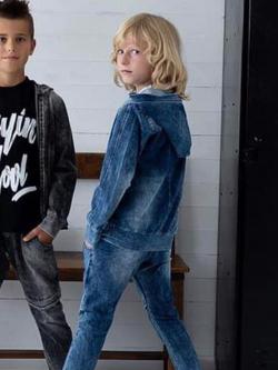 Modrá  chlapčenská mikina imitácia džíns MM 902 jeans blue
