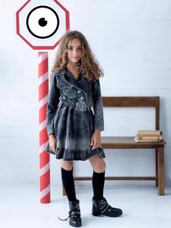 Čierne dievčenské bavlnené šaty imitácia rifľoviny MM 514 jeans black