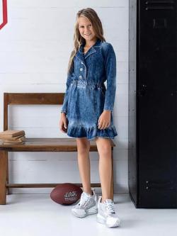 Modré vyšúchané bavlnené šaty imitácia rifľoviny MM 514 jeans blue