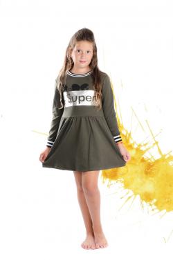Dlhorukávová dievčenská tunika bavlnená army