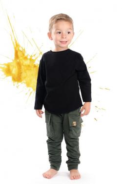 Chlapčenské bavlnené  nohavice olivozelené MM 601