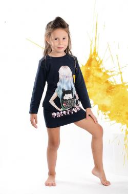 Dievčenská tunika s dlhým rukávom PRETTY NAVY