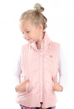 Prechodná vatovaná dievčenská vesta ružová MM 210 pink