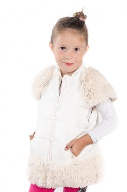 Dievčenská vesta s kožušinovými doplnkami krémová MM 211 beige