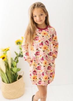 Dievčenské bavlnené šaty s kvetmi MM 509 flower