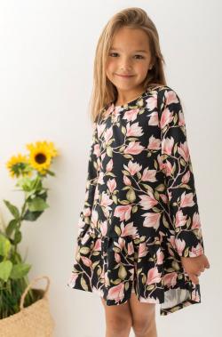 Dievčenské bavlnené šaty vzorované MM 509 black