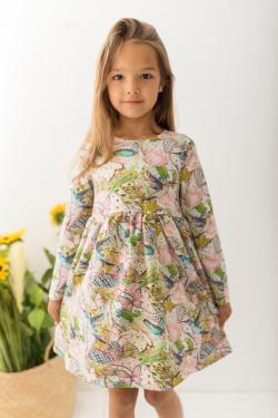 Dievčenské bavlnené šaty vzorované MM 509 motýľ