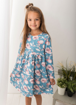 Dievčenské bavlnené šaty kvetované MM 509 blue