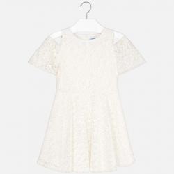 MAYORAL čipkované dievčenské šaty 6933-050 Natural