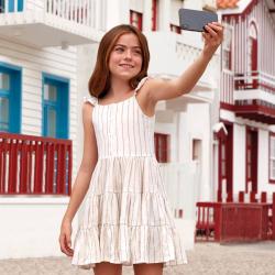 MAYORAL plátené dievčenské šaty 6934-094 Ocher