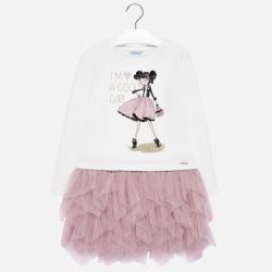 Bavlnená tunika pre dievčatá s tylom MAYORAL 7926-018