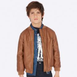 MAYORAL chlapčenský kožený kabát 7439-014 brown