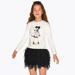 Bavlnená tunika pre dievčatá s tylom MAYORAL 7926-016
