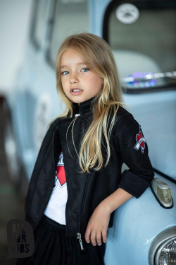 Dievčenská prechodná bunda čierno červená