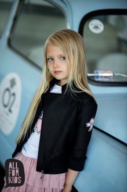 Dievčenská prechodná bunda čierno ružová