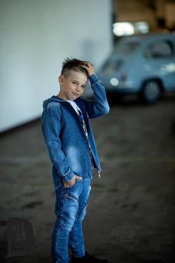 Chlapčenský bavlnený rifľový kabát modrý