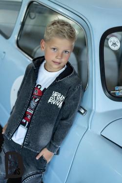 Chlapčenský bavlnený rifľový kabát čierny