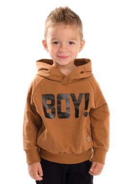 Chlapčenská mikina s nápisom BOY hnedá MM 930 boy brown