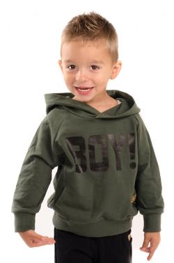 Chlapčenská mikina s nápisom BOY zelená MM 930 boy army