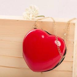 Dievčenská kabelka v tvare srdca red