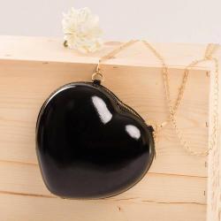 Dievčenská kabelka v tvare srdca black