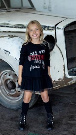 Dievčenské šaty-tunika s tylom black