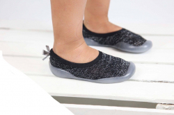 Detská barefoot obuv, papuče čierno strieborné
