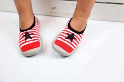 Detská barefoot obuv, papuče červeno biela