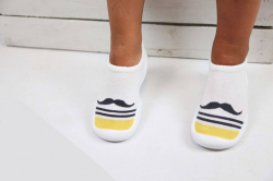 Detská barefoot obuv, papuče biela fúzy