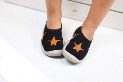 Čierna detská barefoot obuv, papuče -  hviezda