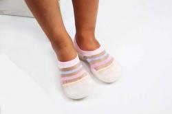 Detská barefoot obuv, papuče biela - pásik