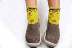 Detská barefoot obuv, papuče brown- žirafa