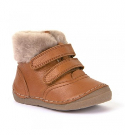 FRODDO kožená zimná barefoot obuv G2110079-2 cognac