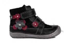 Dievčenská kožená kotníková obuv  D.D.STEP 030-72 black