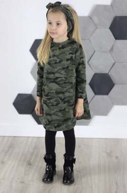 Dievčenská tunika šaty maskáčová MM 551
