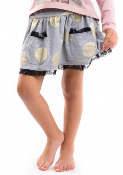 Dievčenská bodkovaná sukňa s vreckami