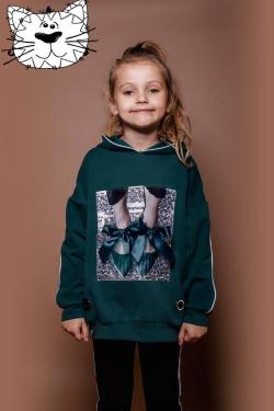 Smaragdová dievčenská tunikal LOVE